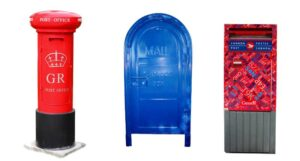 A UK post box, a Canadian mail box and a US mail box