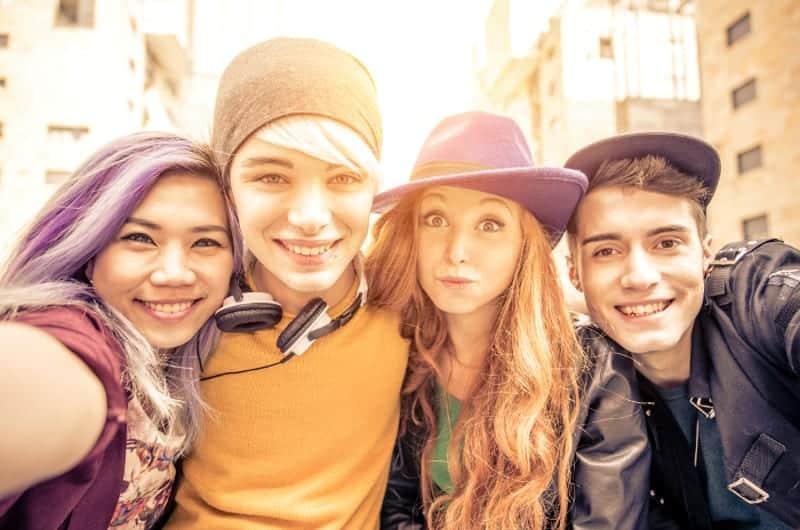 group of trendy teens