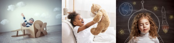 artistic pictures showing preschool children playing and using their imagination