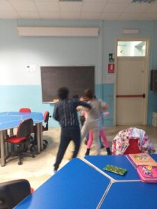 students playing jump the line in class