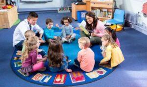 teachers and preschoolers at kindergarten